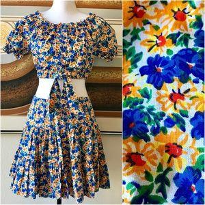 🌼Vintage Floral Crop Top & Skirt Set Women's M🌼